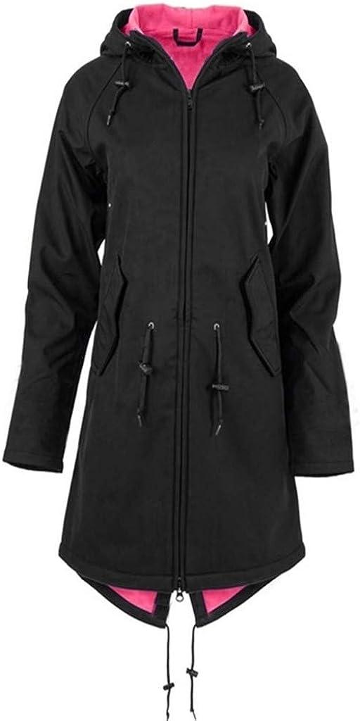Rain Jacket Womens Hooded Long Coat Windbreaker Waterproof Casual Solid Color Outdoor Travel Hiking