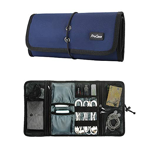ProCase Accessories Bag Organizer, Universal Electronics Travel Gadgets Carrying Case Pouch for Charger USB Cables SD Memory Cards Earphone Flash Hard Drive –Navy