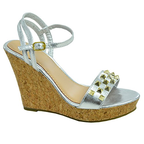Uk Sandali New Ladies Caviglia Taglie Womens Fashion Argento Cinturino Cucu Zeppa Cork Alla Scarpe zOxU1qFw