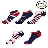 American Flag Socks,Mens Womens Casual No Show Fashion Pattern Low Cut Ankle Socks 5 Pairs BAPAR