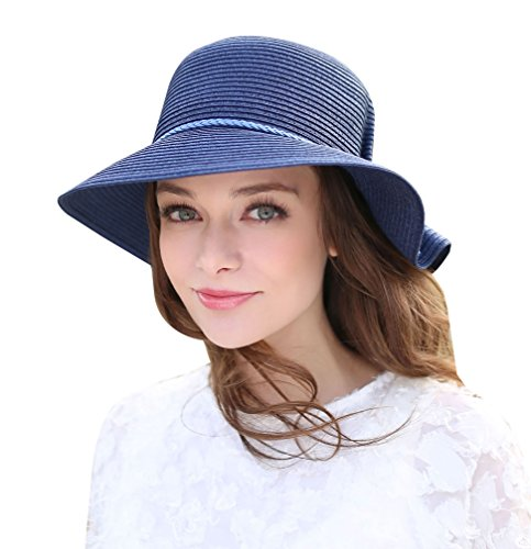 Home Prefer Womens Straw Sun Hat UPF 50+ Sun Protection Cap Wide Brim Bucket Hat (B-Navy Blue) (Women Blue Bucket Hats)