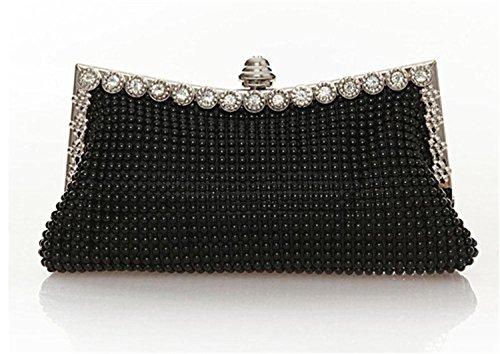 Patty Both Women's Aluminum Framed Clutch Bags Satin Inner Pearl Evening Bags (black)