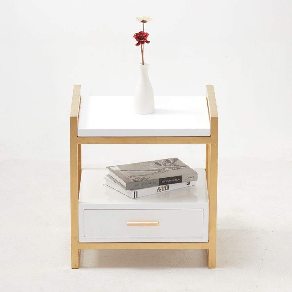 LCPG Creativo Oro Comodino della Famiglia Nordic Style Divano Tavolino ad Angolo A Few Arte Ferro Decorativo Tavolo in Vetro Tavolo t/è Color : White