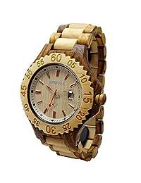 Hand Made Women's Wooden Wrist Watches Quartz with Solid Natural Zebrawood + Date Calendar HGW-167