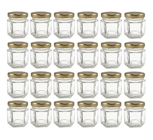 Cornucopia Brands Mini Hexagon Glass Jars, 1.5oz, Pack of 24