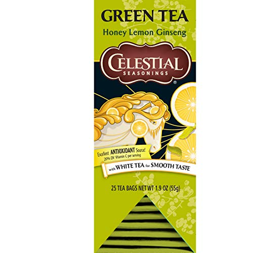 Celestial Seasonings Green Tea, Honey Lemon Ginseng, 25 Count (Pack of 6)