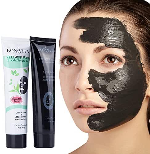 BONVITA Bamboo Charcoal Peel Off Mask & Green Tea Anti-Wrinkle Mask 2 Pack For Women & Men   Remove Blackheads, Minimize & Unclog Nose Pores, Soothe Acne, Smoothen Fine Lines & Eliminate Blemishes