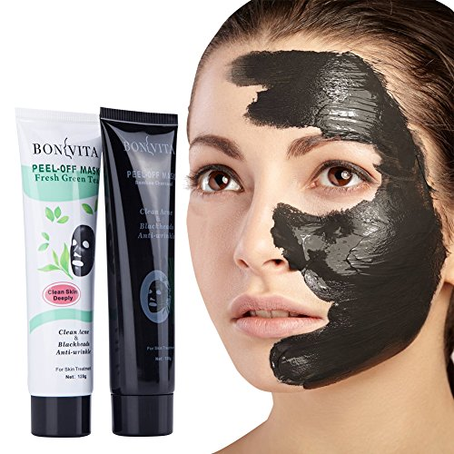 BONVITA Bamboo Charcoal Peel Off Mask & Green Tea Anti-Wrinkle Mask 2 Pack For Women & Men | Remove Blackheads, Minimize & Unclog Nose Pores, Soothe Acne, Smoothen Fine Lines & Eliminate Blemishes