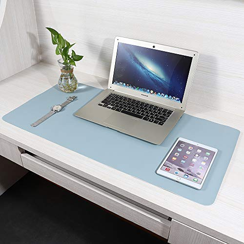 (Office Desk Mat, FURTHERNEXT Multiple Function Writing Table Pad Ultra Thin Waterproof PU Leather Mouse Mat for Office/Home (Sky Blue, 31.5''X15.6''))
