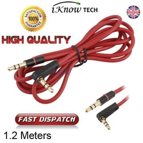 iKNOWTECH® Replacement RED L Jack 3.5mm Audio AUX Cable Cor