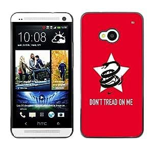 TopCaseStore / la caja del caucho duro de la cubierta de protección de la piel - Funny Don'T Tread On Me Snake - HTC One M7