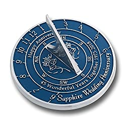 Looking For The Best 45th Sapphire Wedding Anniversary Gift? This Unique Sundial Gift Idea Is A Great Present For Him, For Her Or For A Couple To Celebrate 45 Years Of Marriage