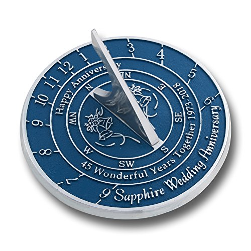 Looking For The Best 45th Sapphire Wedding Anniversary Gift? This Unique Sundial Gift Idea Is A Great Present For Him, For Her Or For A Couple To Celebrate 45 Years Of Marriage (Anniversary Gifts Unique)