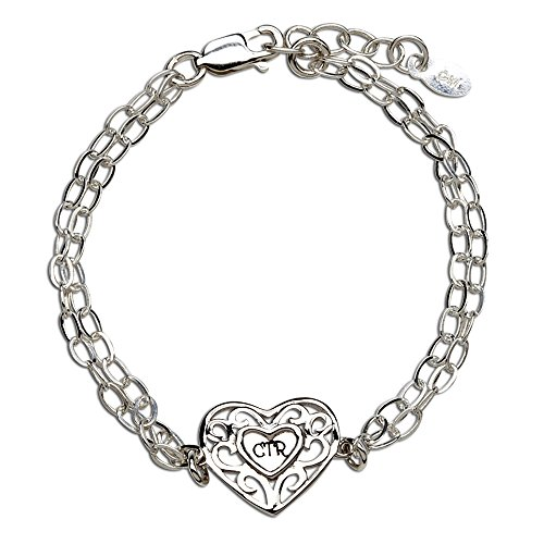 Sterling Silver CTR Heart Bracelet for Girls Baptism (5-12 yrs) Ctr Heart