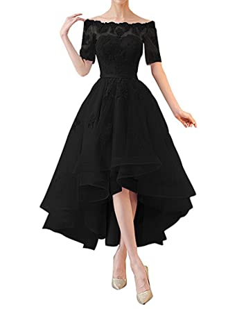 BOwith Off Shoulder High Low Prom Dresses 1/2 Sleeves Appliques Bridesmaid Dress-Black