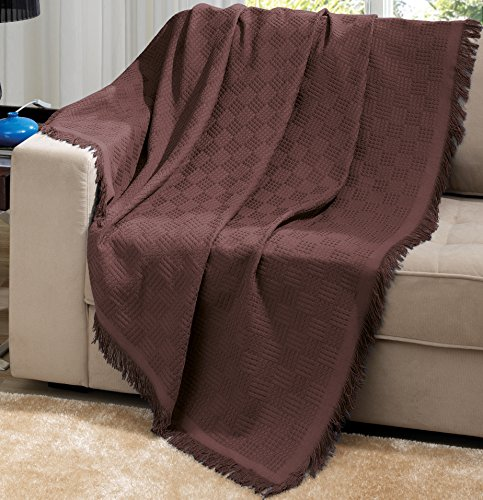 Brown Brazilian Cotton London Throw Blanket With Fringe 63x87 Inches