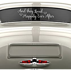"Happily Ever After Sticker, Just Married Car Decal, Wedding Window Decal, White Vinyl 30"" X 9"""