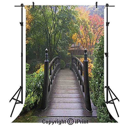 Nature Photography Backdrops,Wooden Bridge at Portland Japanese Garden Oregon in Foggy Autumnal Morning Park,Birthday Party Seamless Photo Studio Booth Background Banner 5x7ft,Green Coral]()