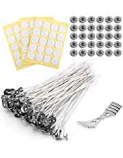 LUTER 60Pcs 8 inch Candle Wicks, Natural Cotton Low Smoke Candle Wicks with 30Pcs Metal Bases, 60Pcs Stickers, Centering Device for DIY Candle Making Kit