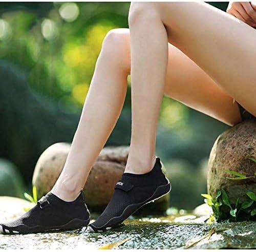 カップル用ビーチダイビング速乾性スイミングシューズ、アウトドアロートップメッシュアップストリームシューズ女性および男性滑り止め軽量ウェーディングシューズUS5-US10.5ブラック ポータブル (色 : Black, Size : US9)