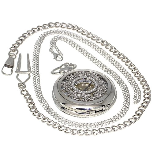 (Antique Hollow Flower Silver Tone Quartz Pocket Watch Necklace Pendant Women Men Open Face Fob 1 PC Necklace 1 PC Clip Key Rib Chain)