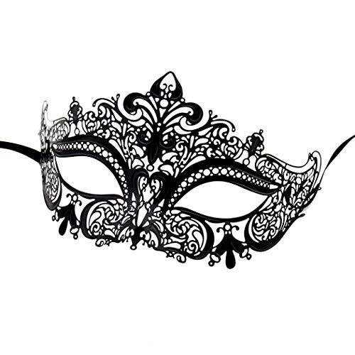 Women's Laser Cut Metal Venetian Masquerade Crown Mask Coxeer Black Mask for Masquerade - Venetian Crown