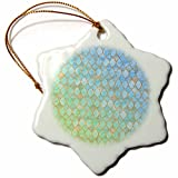 3dRose Uta Naumann Faux Glitter Pattern - Luxury Trendy Green And Teal Moroccan Arabic Quatrefoil Tile Pattern - 3 inch Snowflake Porcelain Ornament (orn_268952_1)
