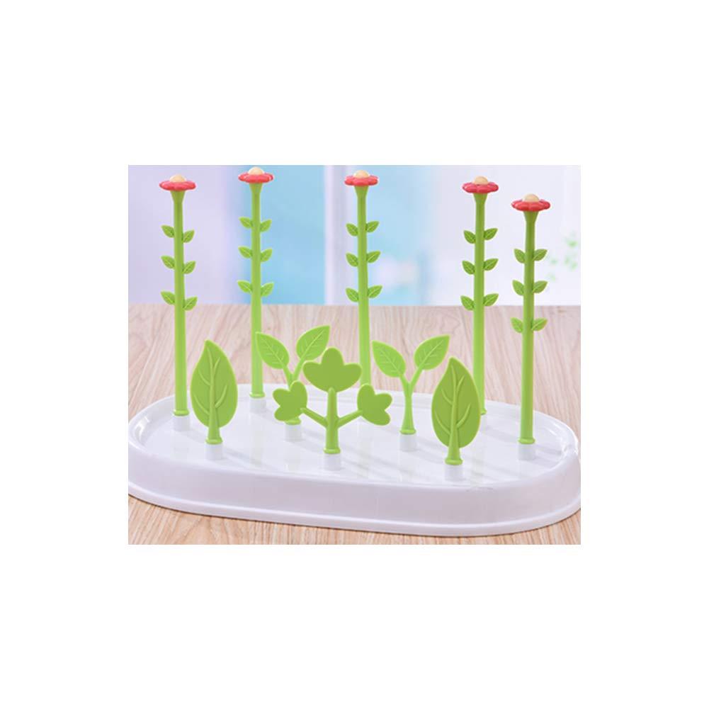 Babyflasche Wschetrockner Blumen-Form Nippel Trocknerrack Nippel Zubeh/ör Flaschentrockner Halter Space Saver mit staubdichte Abdeckung Gr/ün