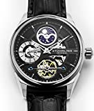 Stuhrling Original Men's 'Delphi' Automatic Stainless Steel and Leather Casual Watch, Color:Black (Model: 657.02)