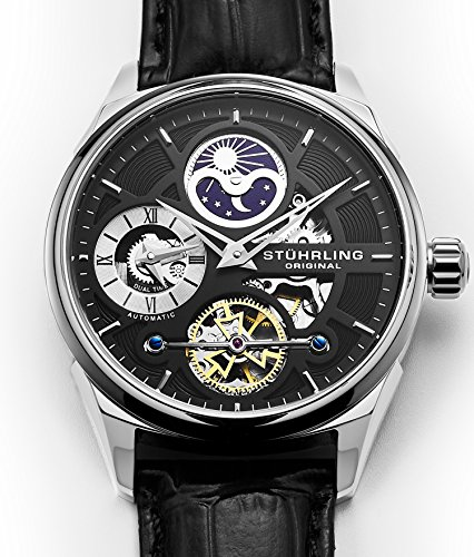 Stuhrling Original Men's 657.02 Delphi Stainless Steel Automatic Self-Wind Dual Time AM/PM Indicator Watch with Black Leather Band ()