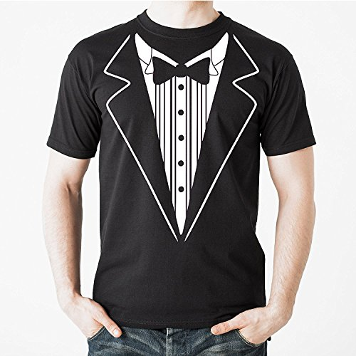 Uink Tuxedo Men's T-shirt Comfort Fit, Black ()