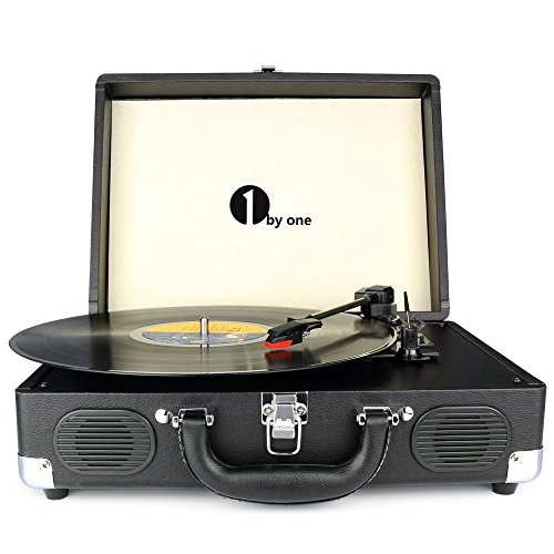1byone Belt-Drive 3-Speed Portable Stereo Turntable with Built in Speakers, Supports RCA Output / Headphone Jack / MP3 / Mobile Phones Music Playback, Black