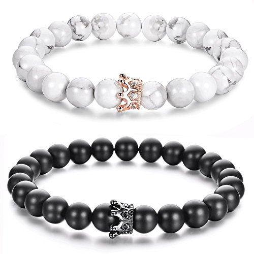 d9cc6f2102049 Distance Couple Bracelets with CZ Crown King&Queen His and Hers Natural  Stone 8mm Beads Bracelet