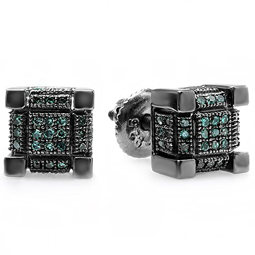 Dazzlingrock Collection 0.25 Carat (ctw) Black Rhodium Plated Mens Hip Hop Cube Stud Earrings 1/4 CT (Screw-backs), Sterling Silver ()