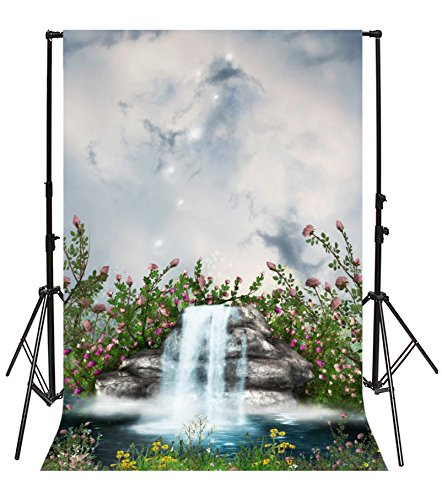Water Mist Q10 - Leyiyi 3x5ft Photography Background Fairy Tale Garden Backdrop Happy Birthday Party Waterfall Springtime Rose Blossom Heaven Pool Cloud Paradise Baby Shower Photo Portrait Vinyl Studio Video Prop