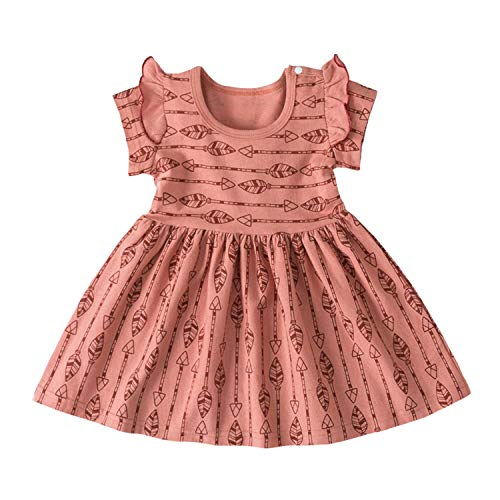 Dresses Cartoon Toddler Kids Baby Dress Clothing Girl Summer Girl Short Sleeve Princess (0-3T) Coffee 3T