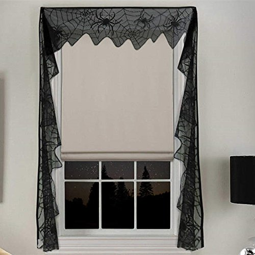 Dulcii Extra Long Size Lace Halloween DIY Home Decor Bunting Banner/Window Curtain/Door Decoration, Black Spider Web Pattern Halloween Party Supplies, 11x240 inch ()