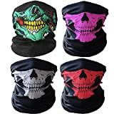 3D Headwear Face Mask - 2PCS Sports Headband,Magic Scarf,Balaclava, Bandana (Skull mask-4Pcs)