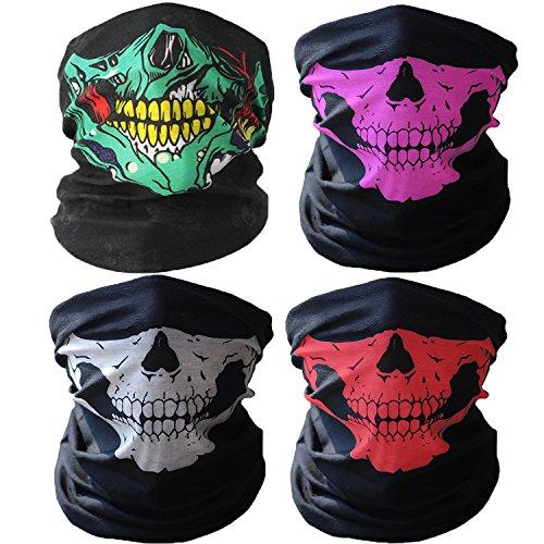 3D Headwear Face Mask - 2PCS Sports Headband,Magic Scarf,Balaclava, Bandana (Skull mask-4Pcs) by WharFlag