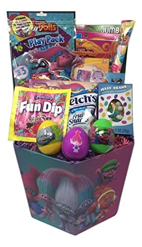 DreamWorks Trolls Activity Gift Basket Bundle - 17 Items - Trolls Season 3 Blind Pack, Jumbo Coloring Book, Stickers, Jumbo Playing Cards, Activity Play Pack, Candy and More