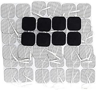 Syrtenty TENS Unit Pads 2x2 44 pcs Reusable Replacement Electrode Patches for Electrotherapy