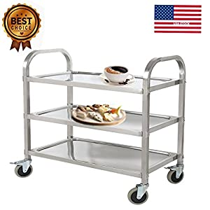 Marvelous Aries 3 Tier Stainless Steel Commercial Kitchen Restaurant Heavy Duty  Utility Cart, Rolling Food Service Carts With Wheels