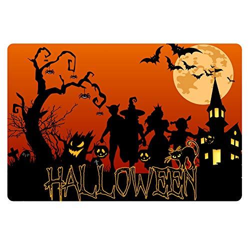 HUGS IDEA Halloween Party Area Rugs Anti Slip Horror Theme Doormat Front Entryway Door Mats Carpet for Kitchen Stairway Toilet -