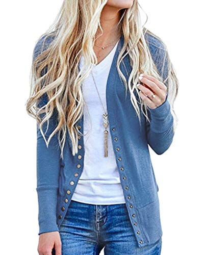 Tracpos Women's V-Neck Solid Button Front Knitwears Long Sleeve Casual Cardigans Sweater Blue XL ()