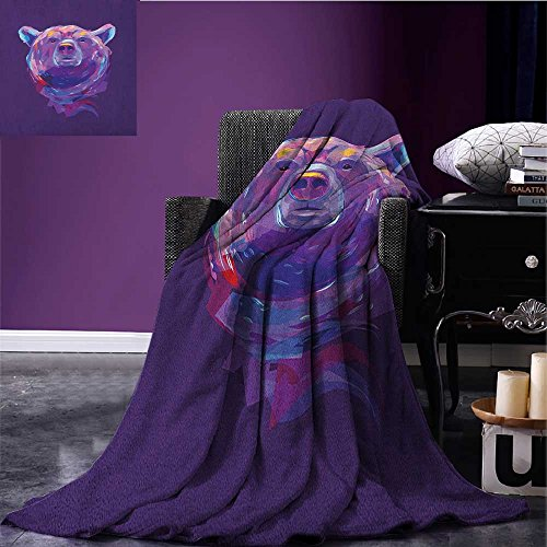 Bear throw blanket Abstract Portrait with Digital Brushstrokes Wildlife Mascot Artistic Display miracle blanket Purple Pink Sky Blue size:59