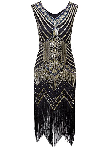 Costume Homemade Ideas 1920's (Vijiv Women 1920s Gastby Sequin Art Nouveau Embellished Fringed Flapper Dress, Black Gold,)