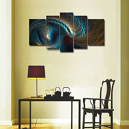 5 Panel Wall Art Fractal Like Clover Design Yellow And Blue Wave Wall Art Pai