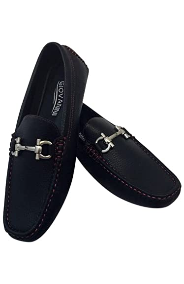 198d046010e MEN GIOVANNI DRESS SHOE LOAFER CASUAL STYLE SLIP-ON SUEDE NAVY RED BLACK M15 -