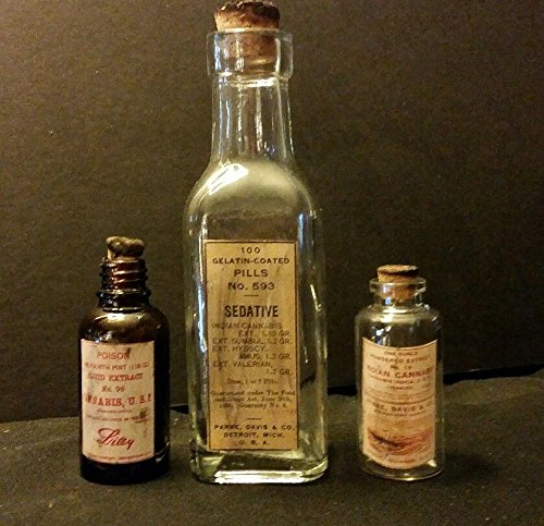 **3.Vintage Style Cannabis Glass Medicine Bottles.Handcrafted By Artist.Nice ()