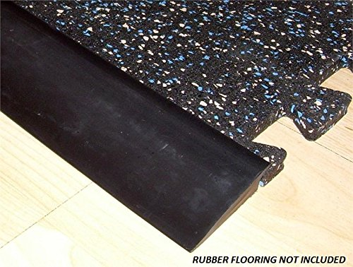 "RB Rubber Black Beveled Rubber Flooring Edge Reducer - 12' Transition Strip for use with 3/8"" Thick Rubber Flooring"